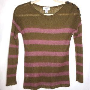 Ann Taylor LOFT Green/Pink Stripe Sheer L/S Top